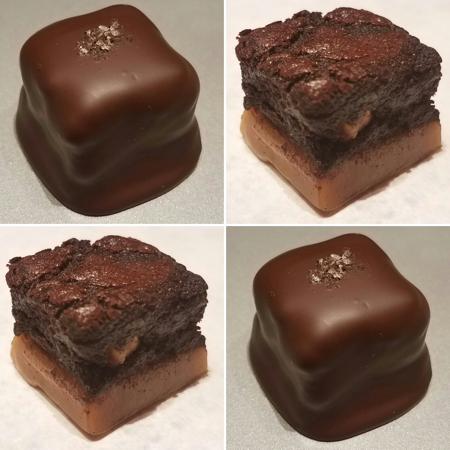 Coffee caramel brownie bites in dark chocolate