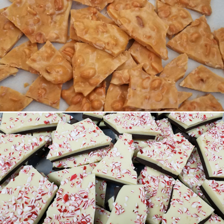 Peanut brittle and peppermint bark